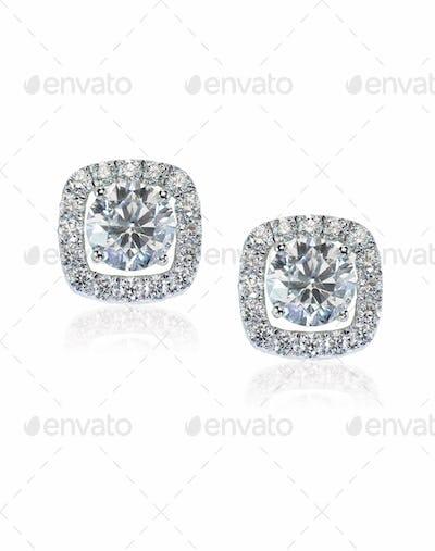 Beautiful Halo Diamond Stud earrings with reflection