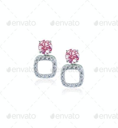 Pink Diamond Stud earrings pair