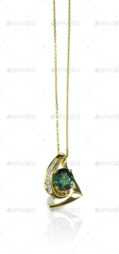 Green Emerald Gemstone Pendant Necklace