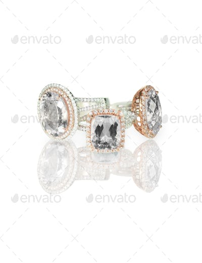 Large cushion cut modern diamond halo engagement wedding rings grouping