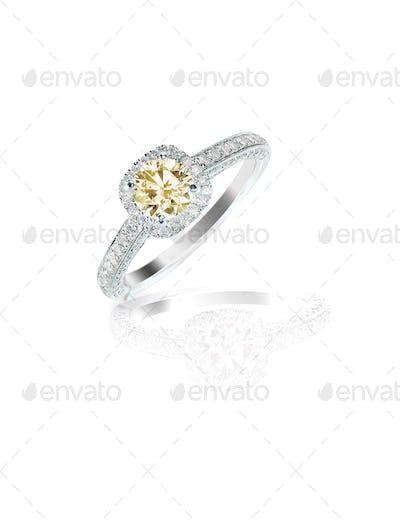 cognac diamond wedding bridal engagement ring in halo setting