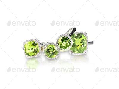 Set of green peridot diamond rings gemstone fine jewelry. Group stack