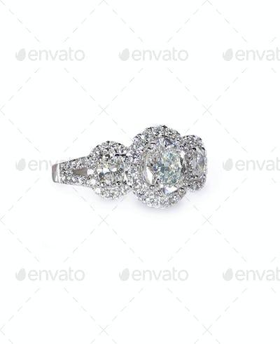 Oval three stone halo Diamond Wedding engagement ring band