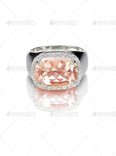 Morganite diamond halo engagement ring