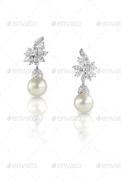 Beautiful Diamond pearl dangle Marquise earrings studs pair