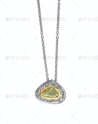 Raw Diamond Gemstone Brown Pendant Necklace.