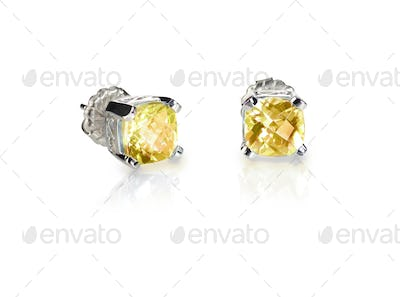 Yellow diamond citrine topaz stud earrings pair