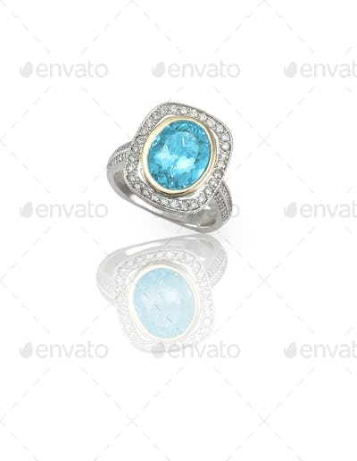 Turquoise blue topaz Cabochon Silver Fashion Ring