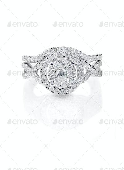 Beautiful Diamond Wedding band engagement ring set