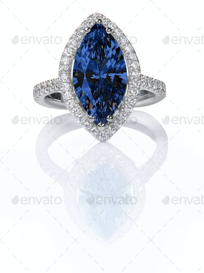 Blue Sapphire Beautiful Diamond Engagement ring. Gemstone Marquise cut
