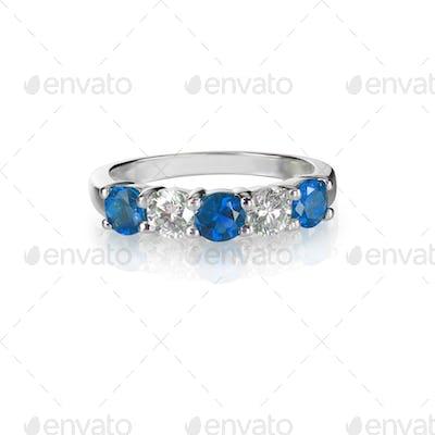 Sapphire and diamond wedding anniversary engagement bridal band