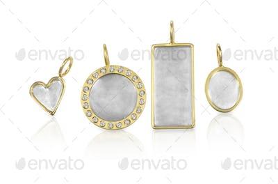 Golden Silver blank customizable trinket pendants with diamonds