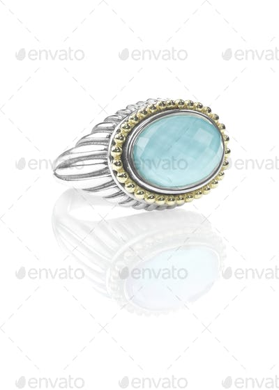 SIlver Gold Duotone Turquoise Cushion Cut Fashion Ring