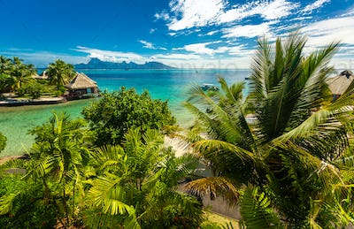 Overwater bungalows with best beach for snorkeling, Tahiti, Fren