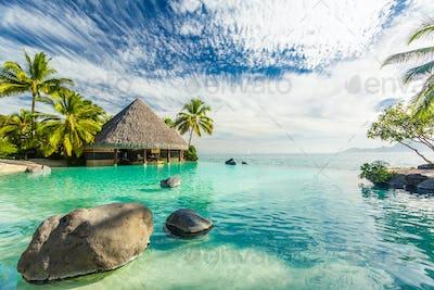 Infinity pool with palm tree rocks, Tahiti, French Polynesia