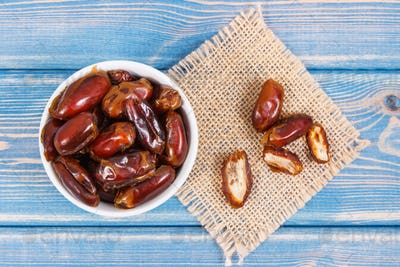 Dates as source natural vitamins and dietary fiber, healthy nutrition concept