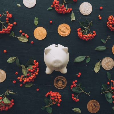 Flat lay piggy coin bank and cryptocurrency coins