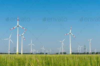 Wind generators in the fields