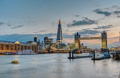 The skyline of London after sunset