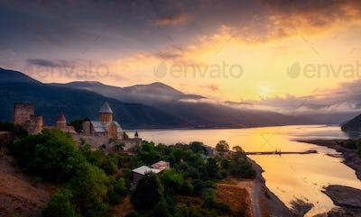 Scenic view of Ananuri fortress and lake at sunrise, Country of Georgia