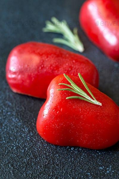Fresh red bell pepper slices