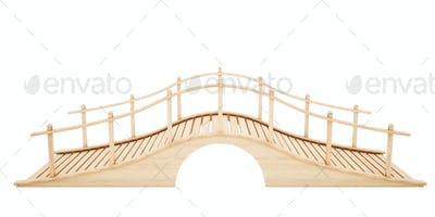 Wooden bridge isolated on white background. 3D rendering.