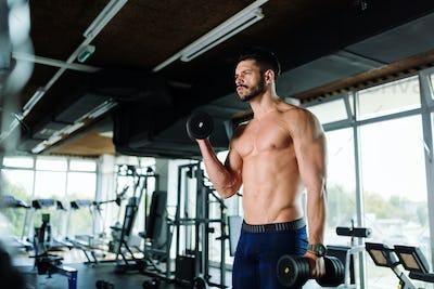 Muscular bodybuilder working out in gym