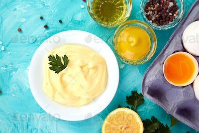 Homemade sauce Mayonnaise and ingredients eggs, oil