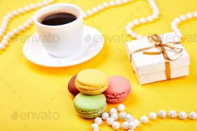 Sweet Dessert Macaron or macaroon, colorful almond cookies,