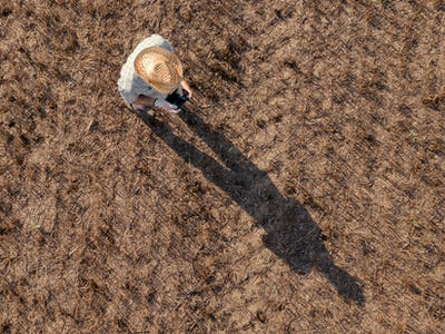 Top view of male farmer flying a drone in field