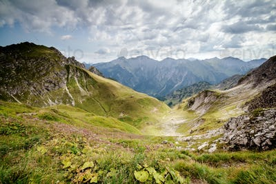 view on valley in mountains