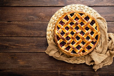 Fruit pie. Sweet pie, tart with fresh plums. Delicious cake with plums