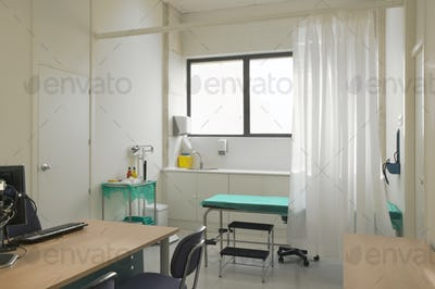 Hospital doctor consulting room. Healthcare equipment. Medical treatment equipment. Office