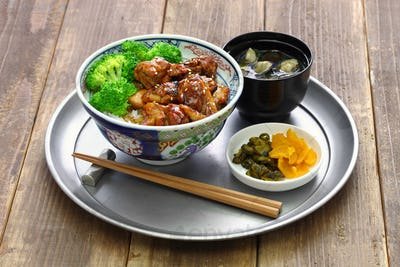 teriyaki chicken rice bowl, japanese food