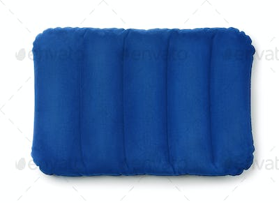 Top viewe of blue inflatable pillow