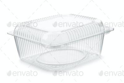 Empty transparent plastic food container