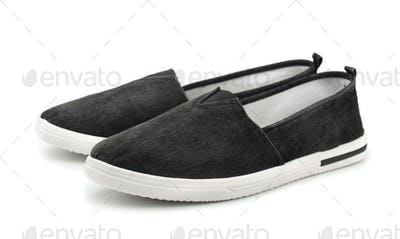 Black canvas slip on casual shoes
