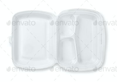 Open foam hinged three compartment meal container
