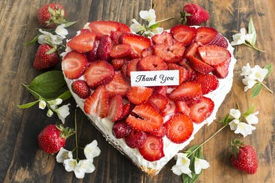 Thank You Card with Heart Cheesecake with Strawberries