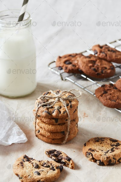 A hand crafted package of chocolate cookies with chocolate chips