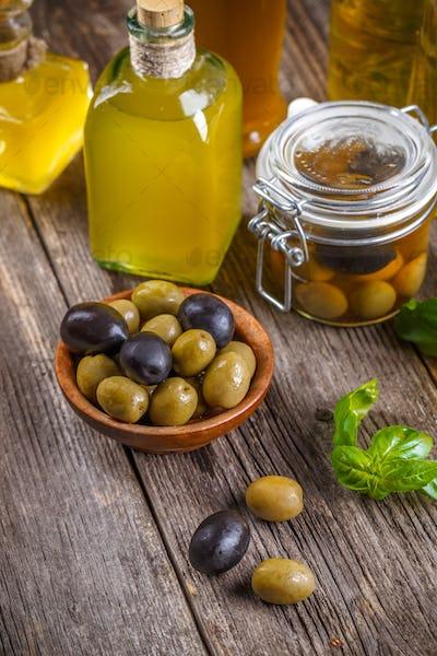 Olives and bottle of olive