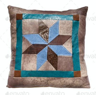 top view of handmade leather throw pillow isolated