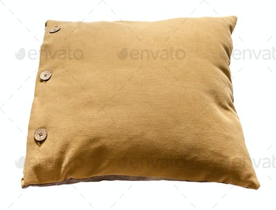 above view of dark yellow throw pillow isolated