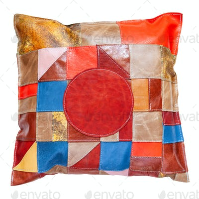 colorful patchwork leather pillow isolated