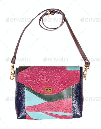 patchwork embossed leather handbag isolated