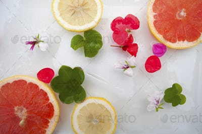 Summer mood. Flowers and fruit with ice.