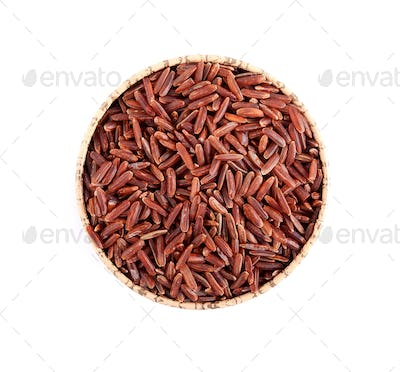 Brown wild rice in a round bowl on a clean white background.