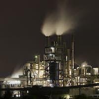 Chemical Plant Panorama At Night