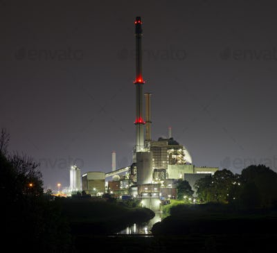 Old Power Station At Night