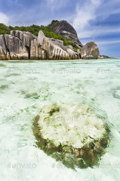 Coral Block and Lagoon in La Digue, Seychelles